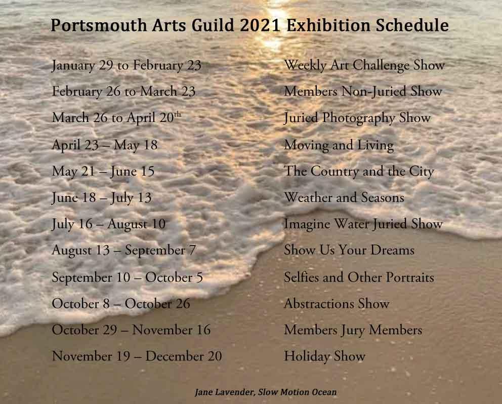 Jane Lavender, Slow Motion Ocean, Exhibition Schedule, Portsmouth Arts Guild