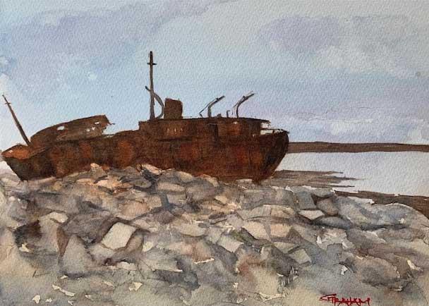 Gary Graham, MV Plassy on the Rocks, Portsmouth Arts Guild