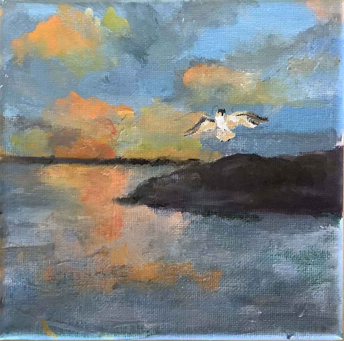 """Sarah Oesting, """"Seagull"""", Artists for World Peace Auction, Portsmouth Arts Guild"""